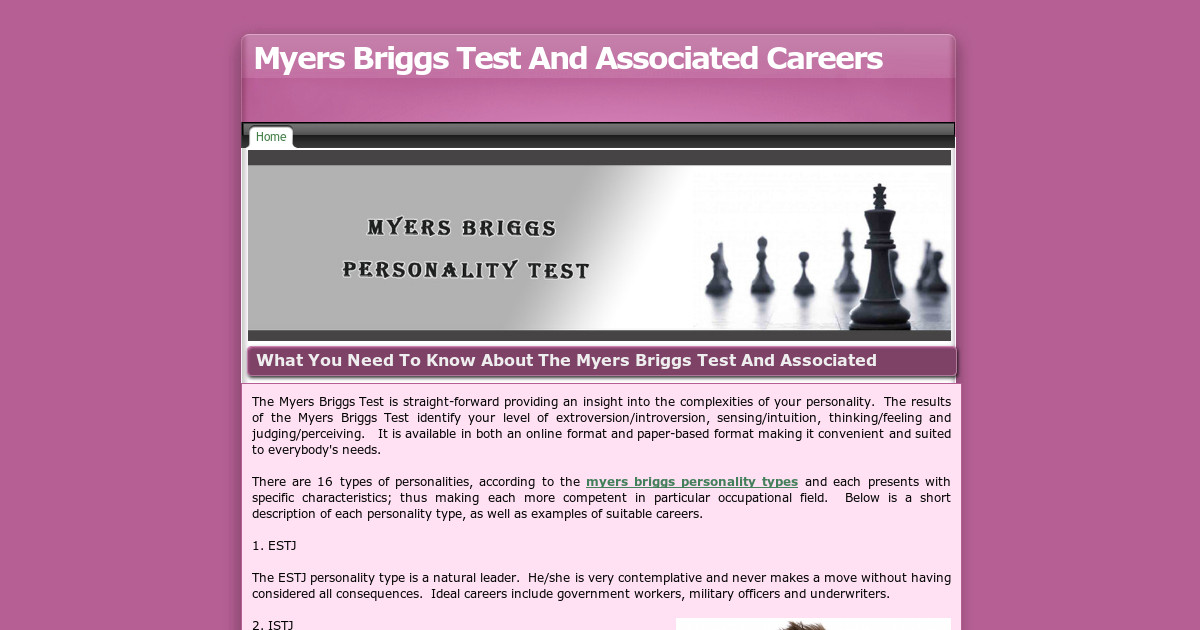 a critique on a personal presentation about the myers briggs personality test Your skills, interests, personality,  is enfj your myers briggs personality type discover career options how will relocating to a new city affect your career.